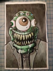 Image of Green Monster Inktober original drawing