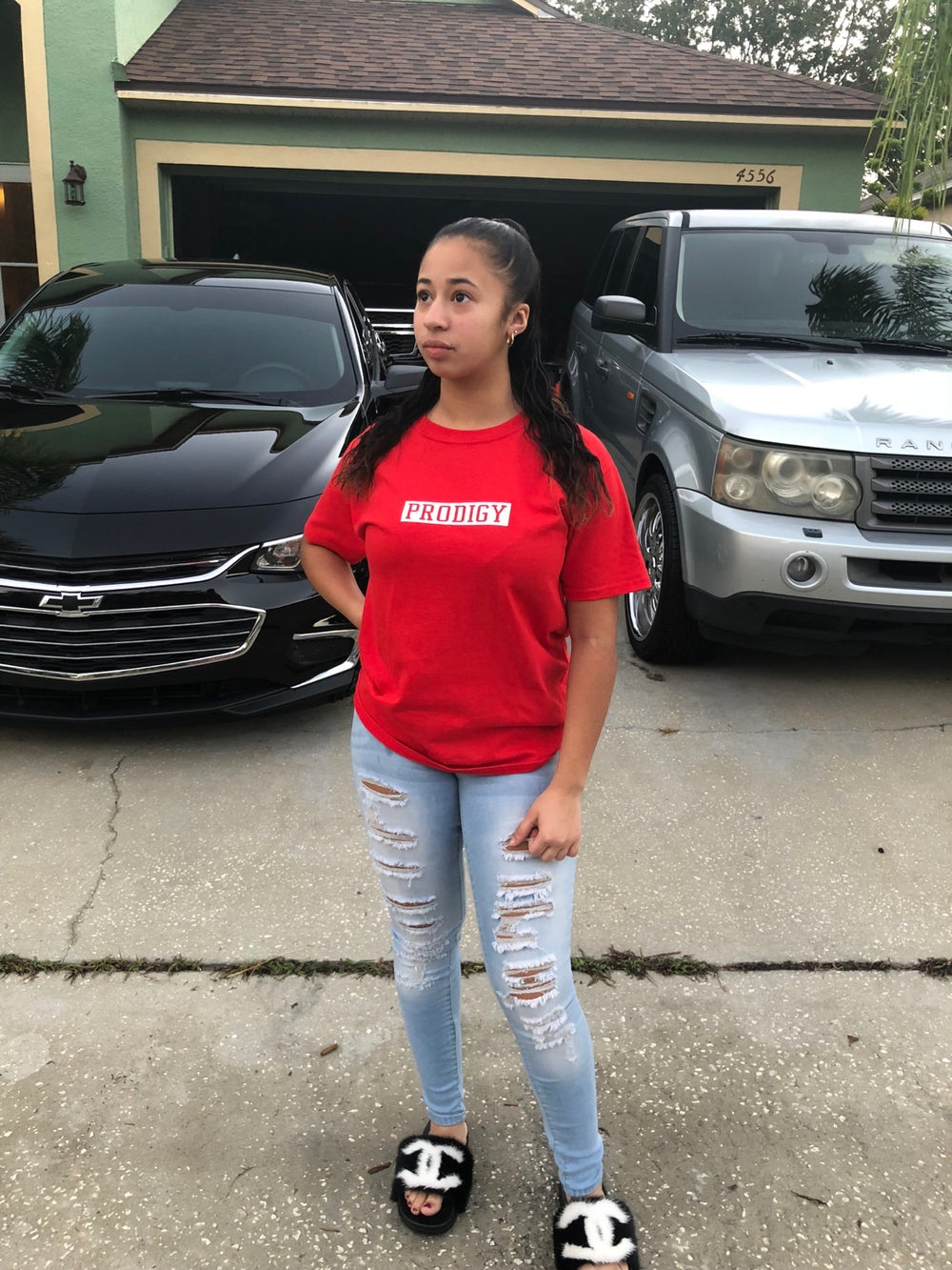 NEW BRAND PRODIGY RED T SHIRT WHITE LETTERING