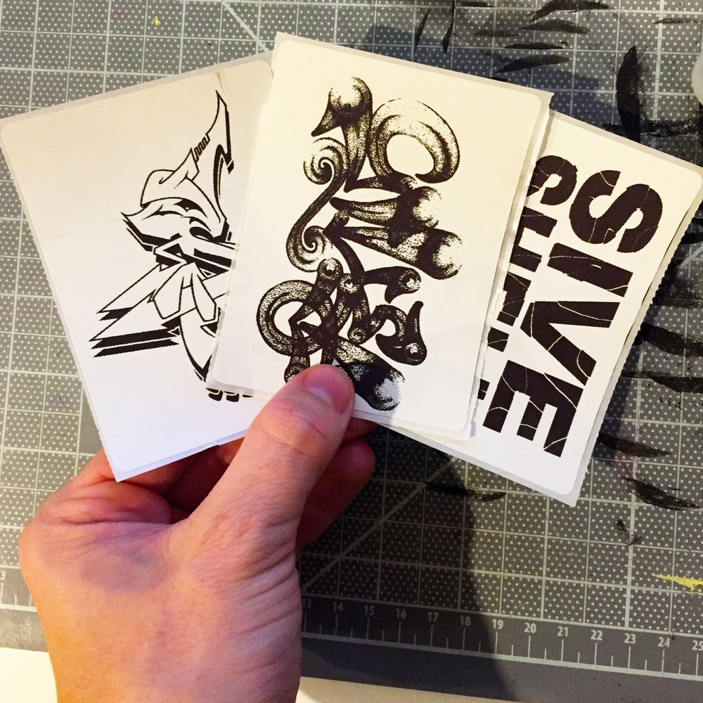 Image of Custom Black and White Thermal Transfer Stickers