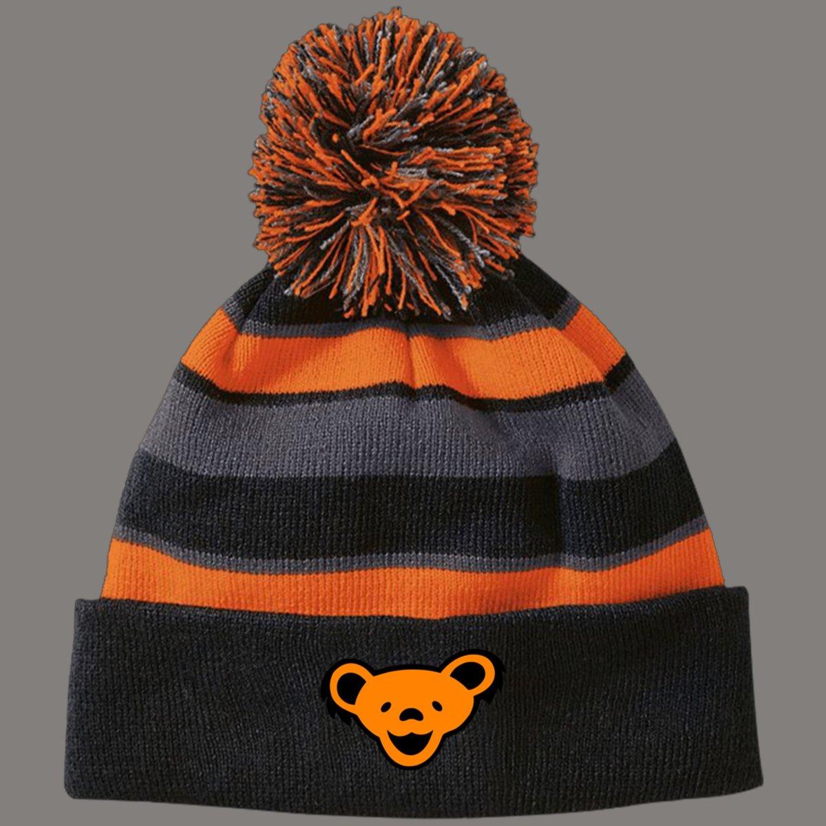 Orange and Black Striped Bear Beanie with Pom Pom!