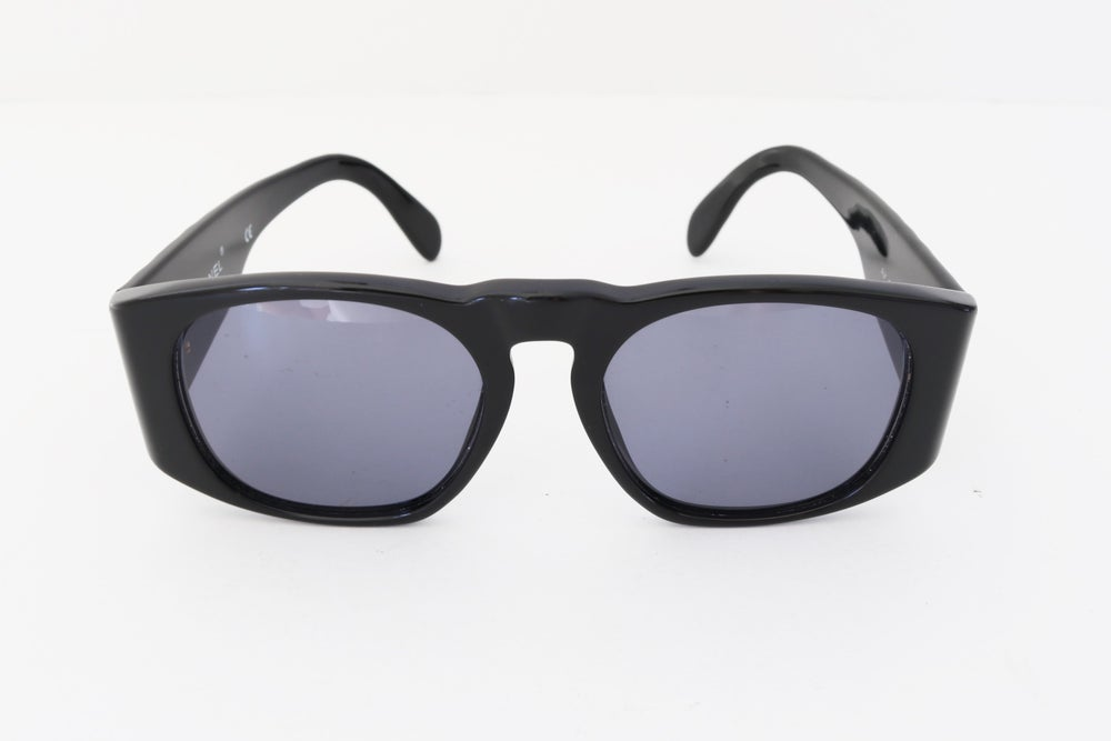 Image of Vintage 1990's Chanel Black & Gold Quilted Sunglasses (Youth)