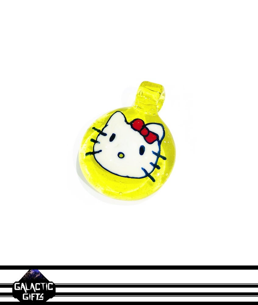 Image of B Weiz Glass - Custom Disc Flip Hello Kitty Pendant