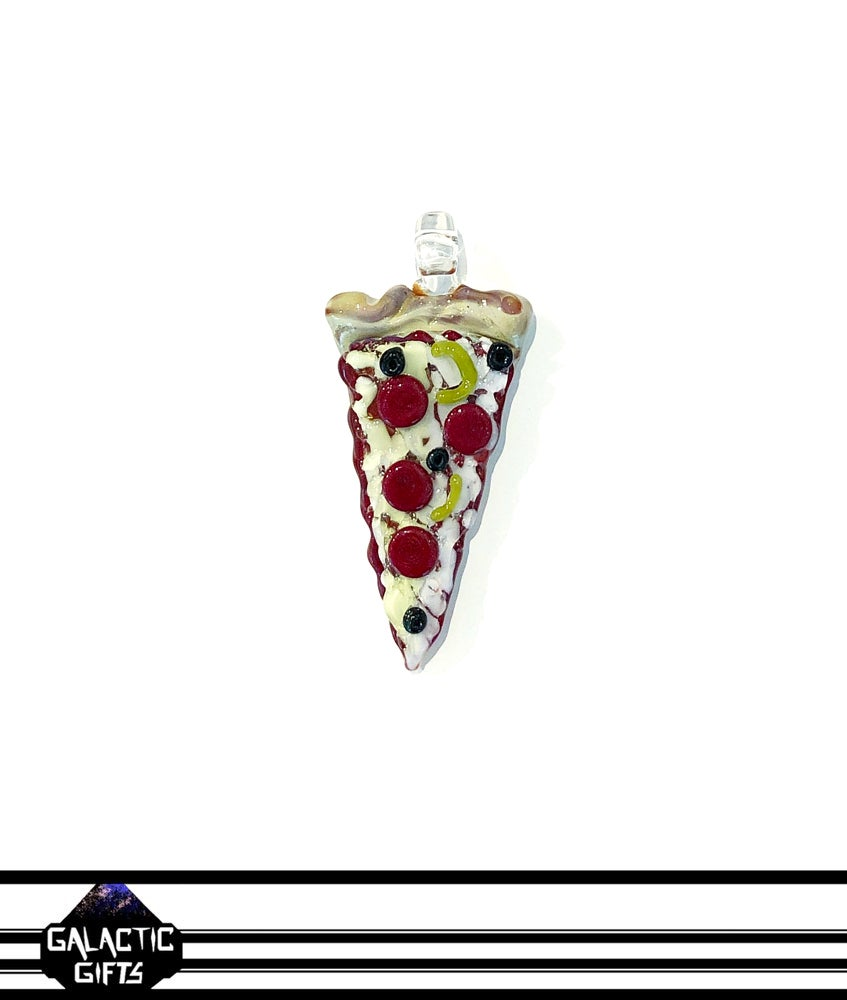 Image of Meld Glass UV Active Deluxe Pizza Slice Pendant #1