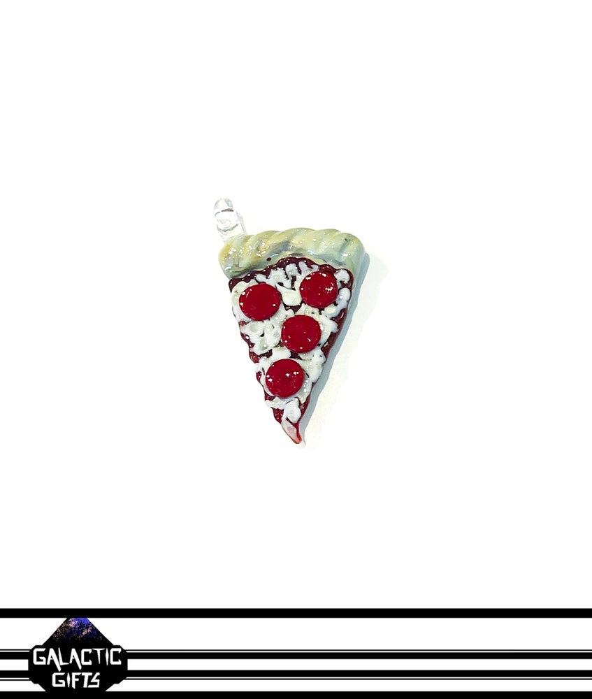 Image of Meld Glass UV Active Pepperoni Pizza Slice Pendant #3