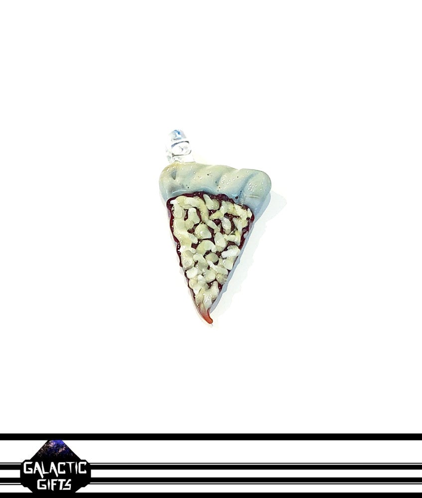 Image of Meld Glass UV Active Cheese Pizza Slice Pendant #3