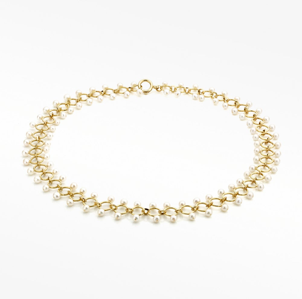Image of 'Pearl' necklace in gold and pearls - halsketting / parelketting in goud met parels