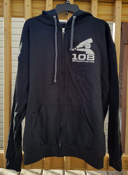 Image of The 108 OG Hoodie / Jet Black / Grey Logos