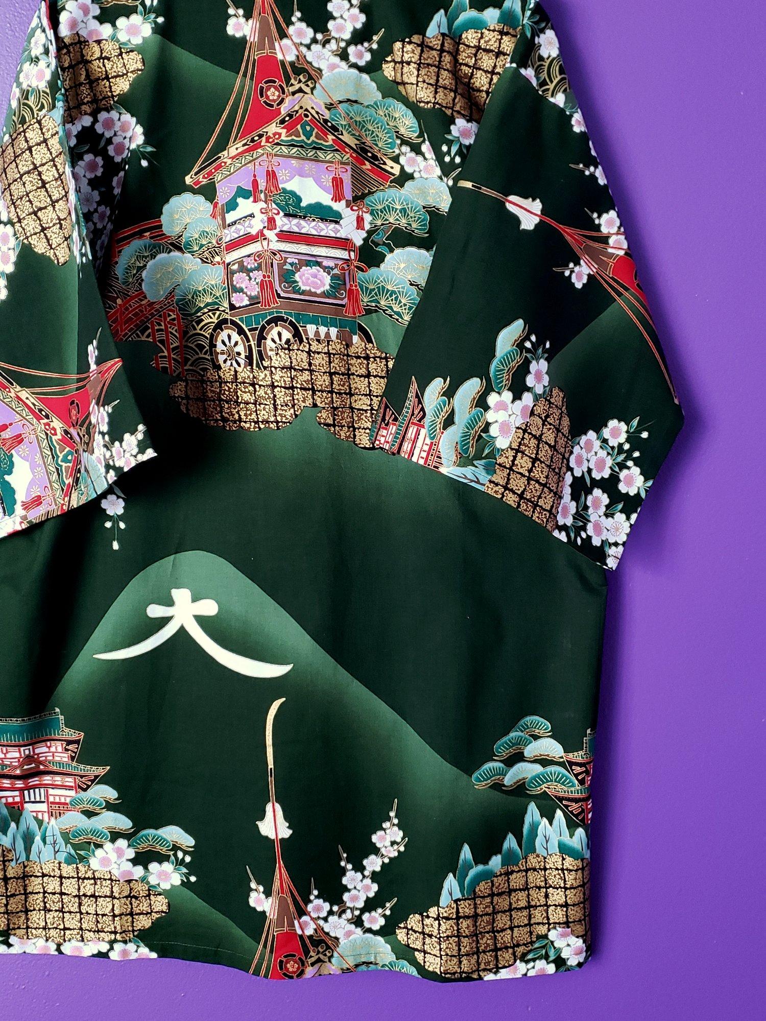 Image of Naoki Printed Short Robe & Belt