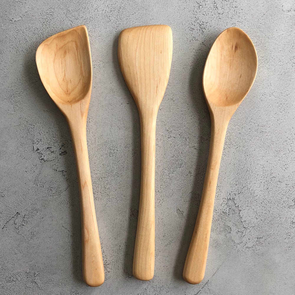 Image of 3 piece maple utensil set