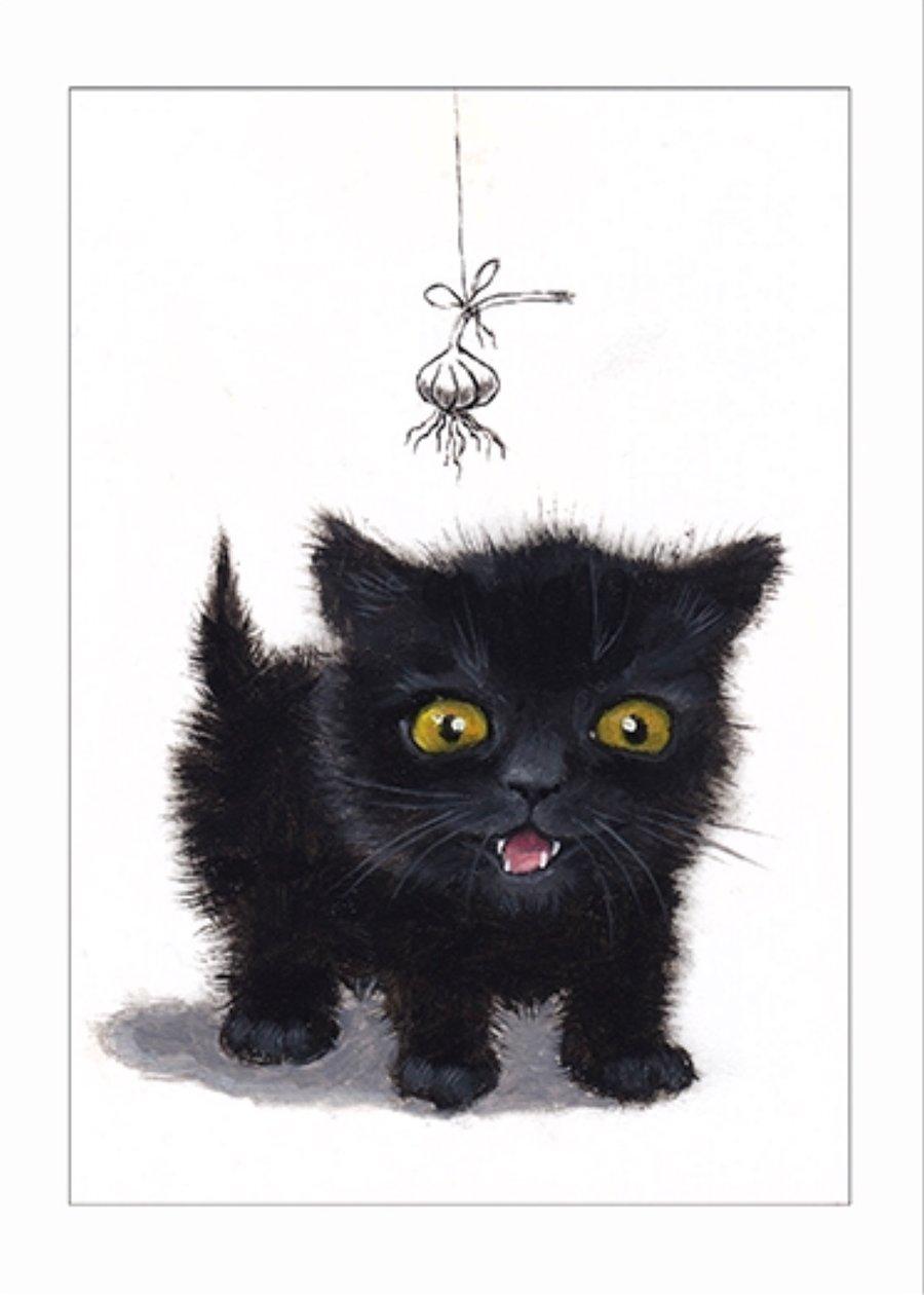 "Image of ""Fear no garlic (vampire)"" archival ACEO print"
