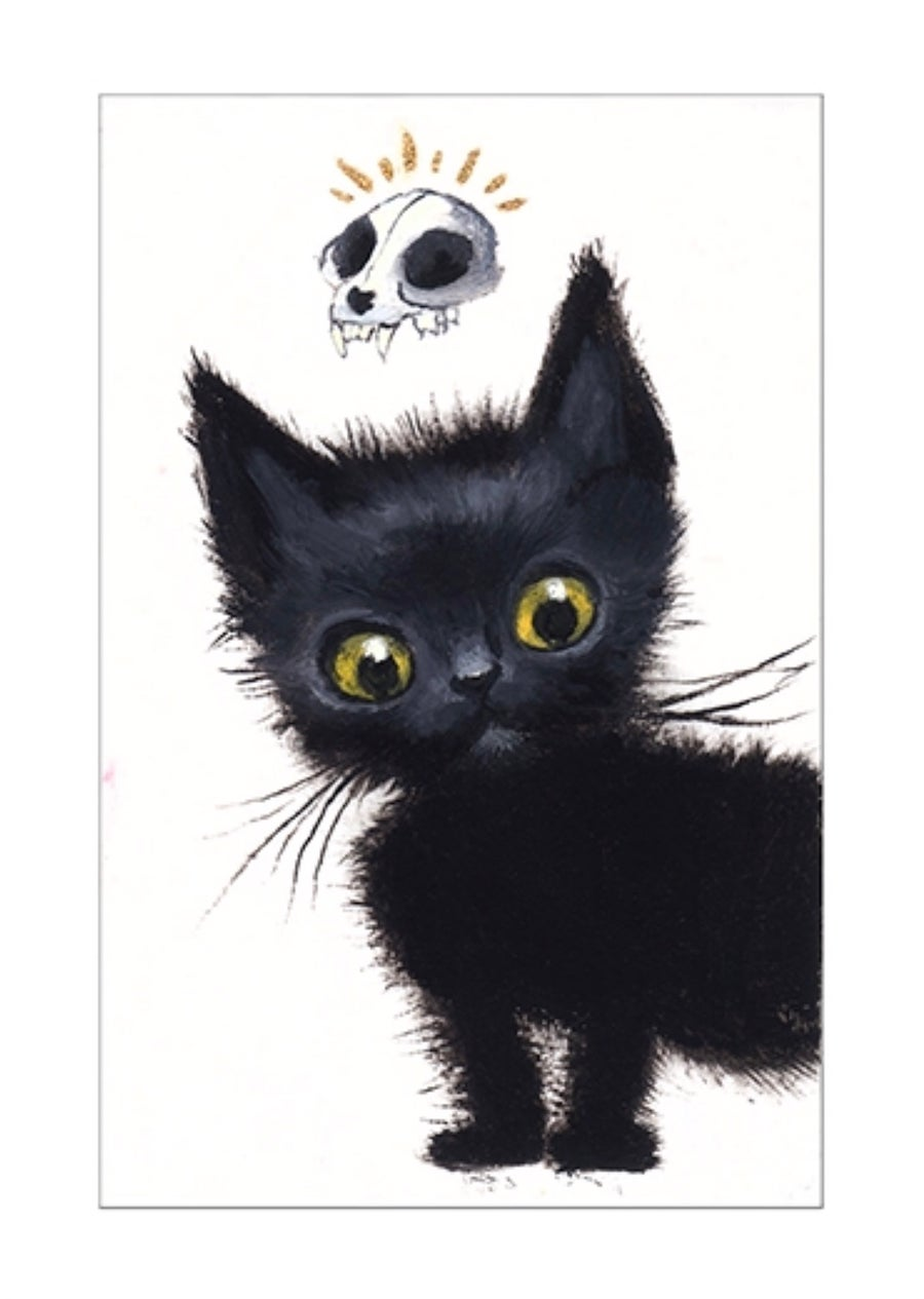 """Image of """"Black Cat II"""" archival ACEO print"""