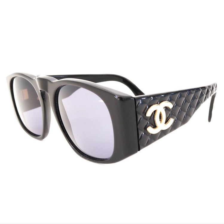 84c0df92b72a Vintage 1990's Chanel Black & Gold Quilted Sunglasses (Youth) / Sole ...