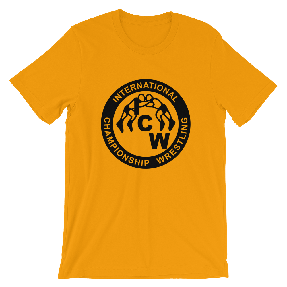 Image of ICW Classic Tee (Gold) Honoring the Most Notorious Outlaws of Pro Wrestling)