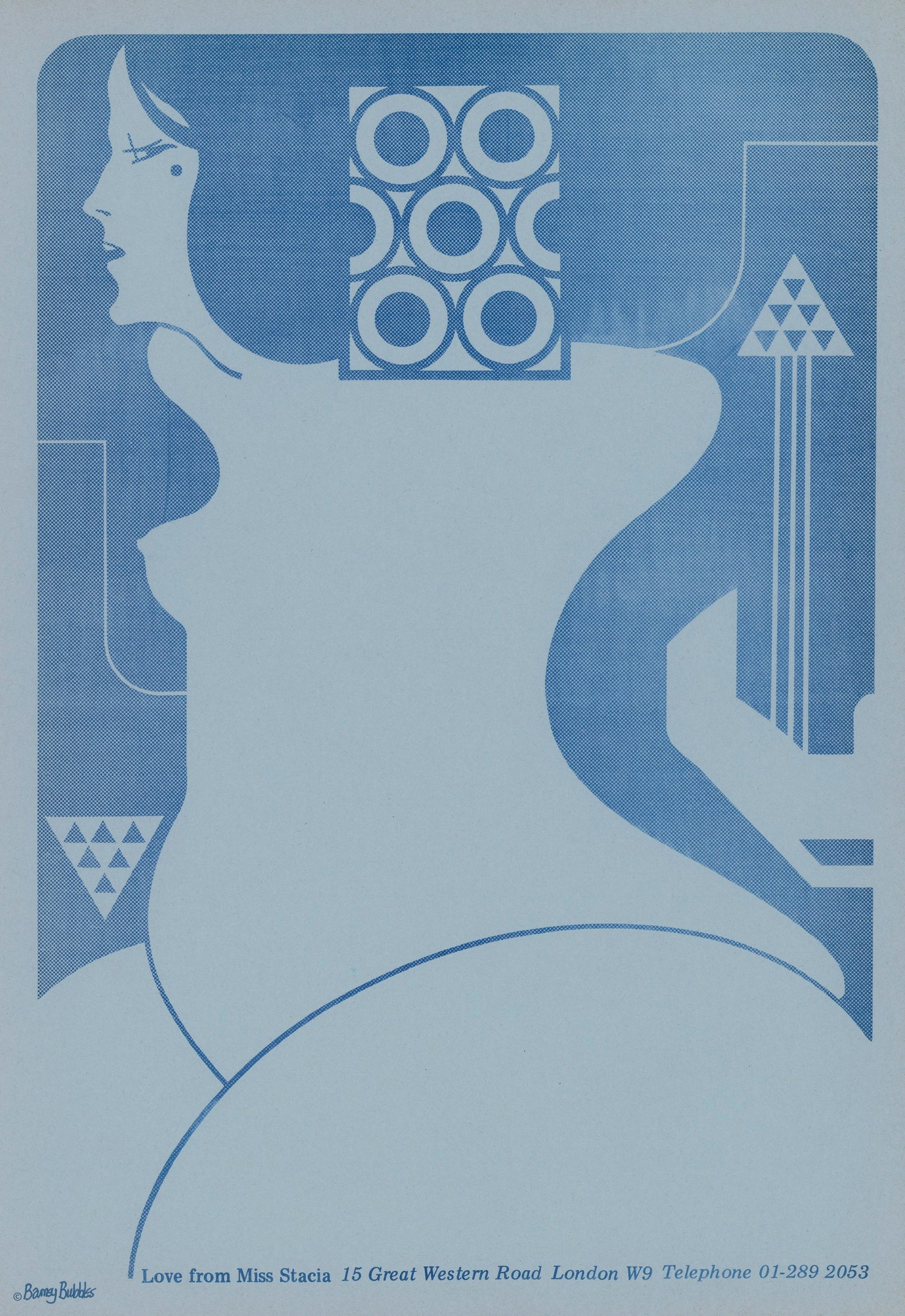 Image of 'Love from Miss Stacia' Poster - Barney Bubbles Design (Hawkwind)