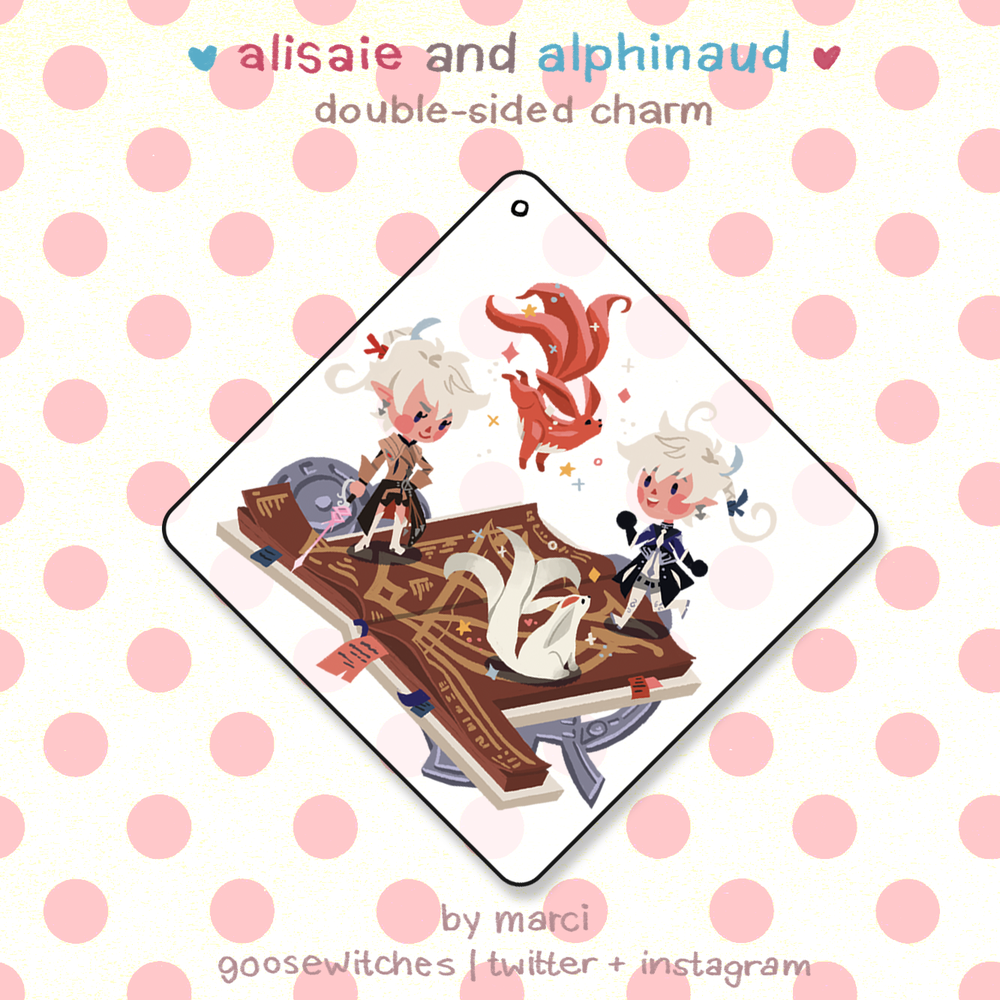 Image of [FFXIV] alisaie + alphinaud doublesided charm