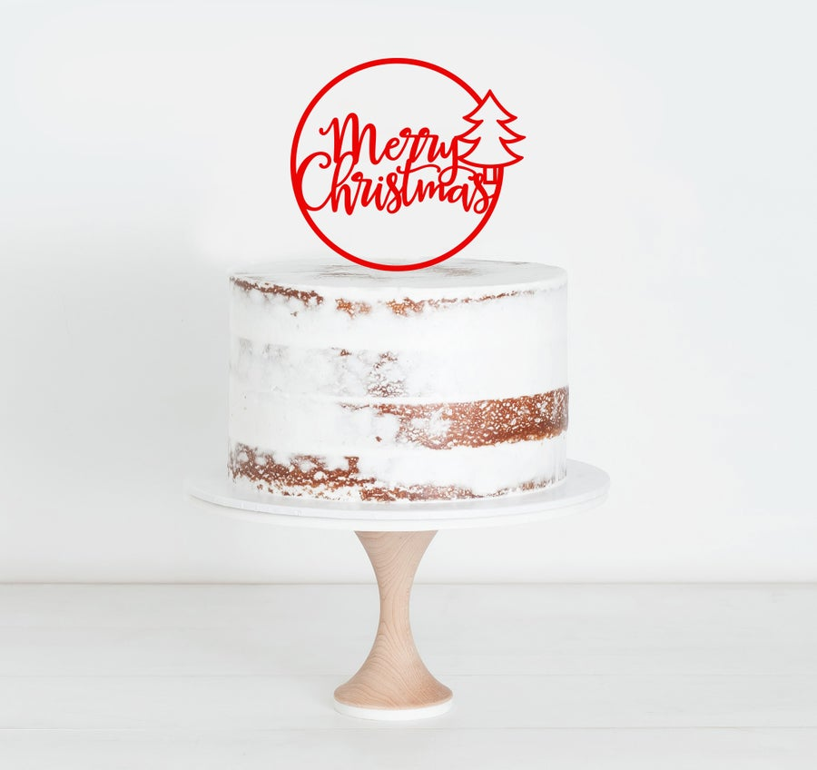 Image of Merry Christmas Circle Cake Topper