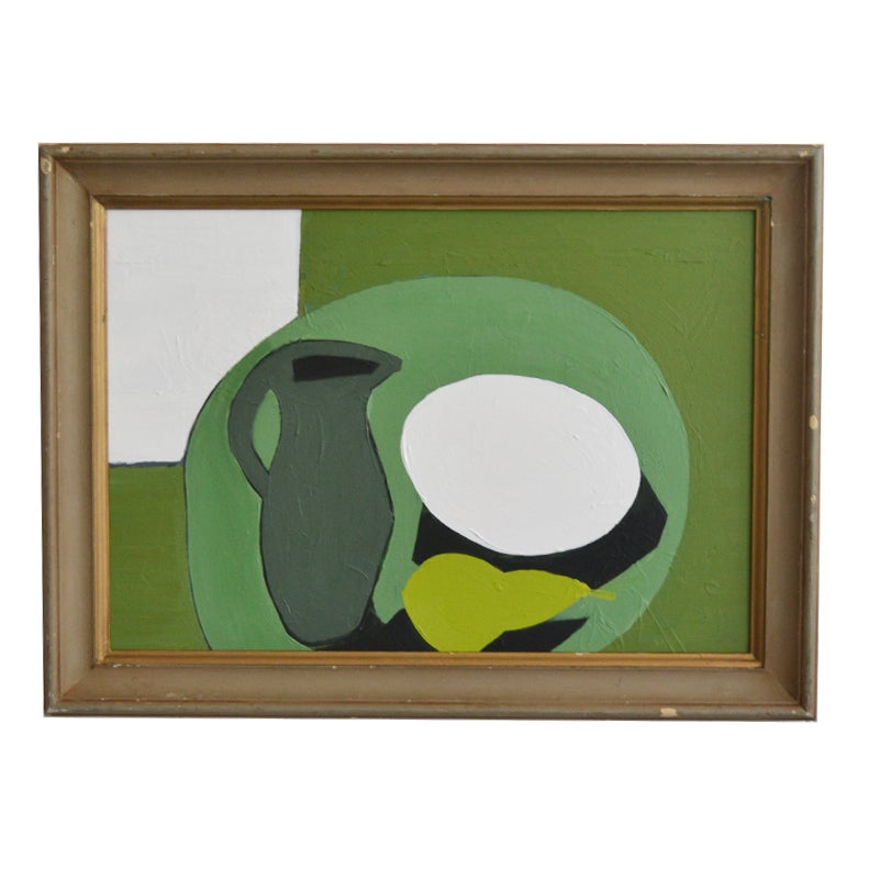 Image of Late 20thC Abstract Painting 'Green Jug'