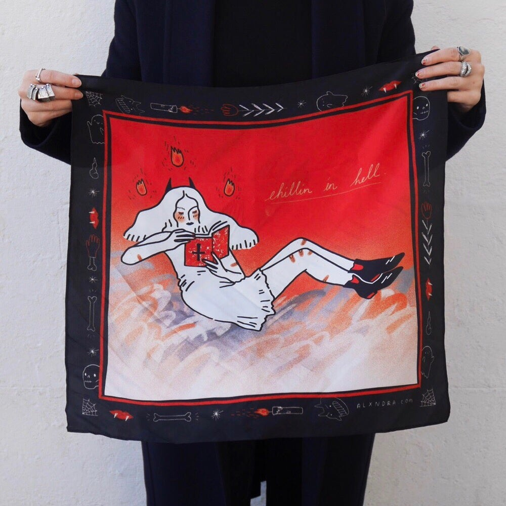 "Image of ""Chillin' in Hell"" Silk Printed Scarf"