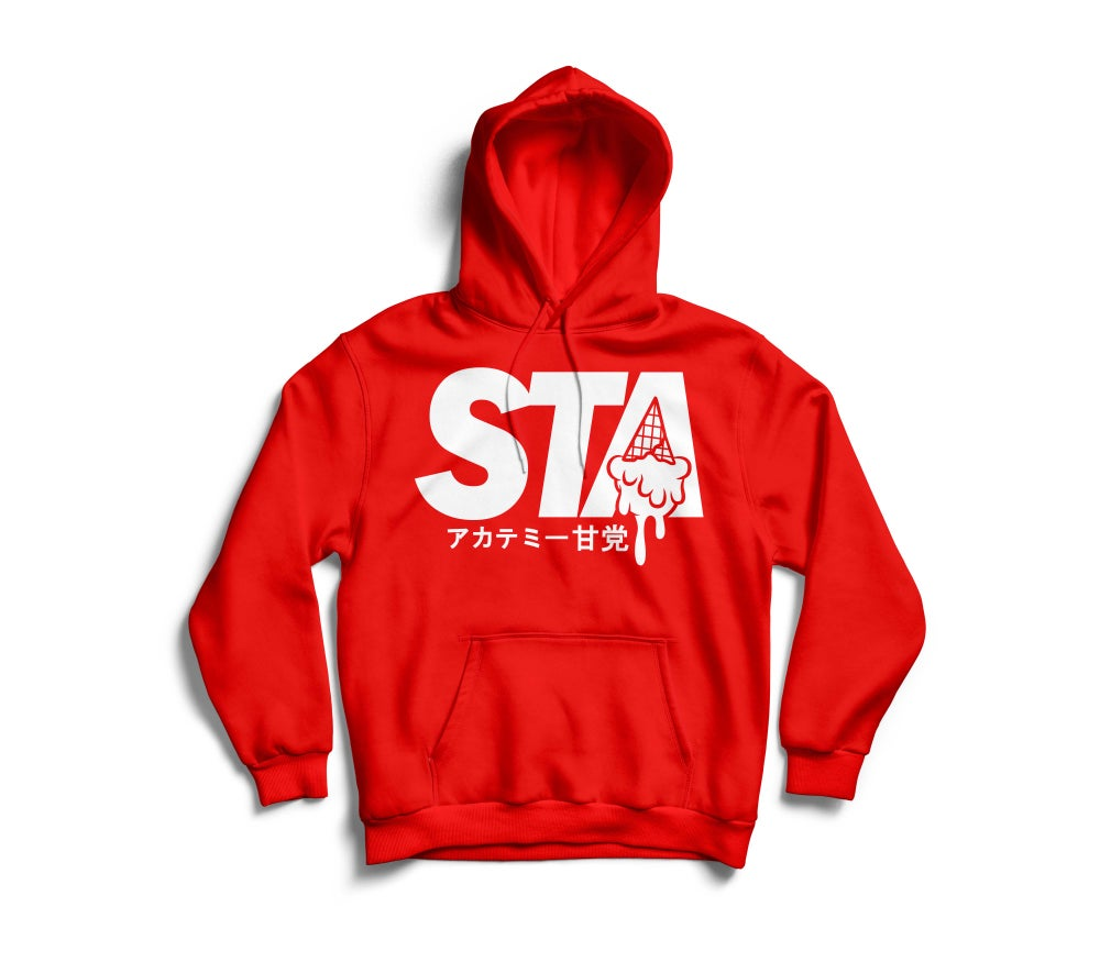 Image of Sta Last Drip Red Hoody w/ White