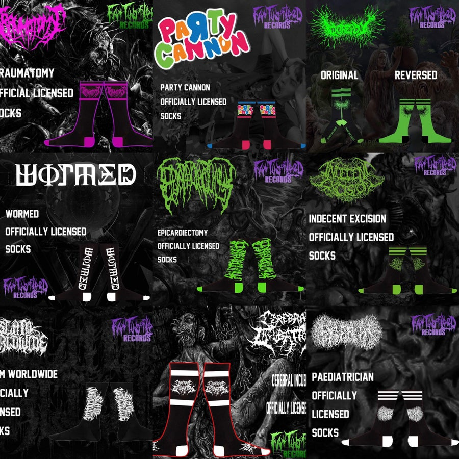 Image of Officially Licensed Traumatomy/PC/Gorepot/Wormed/Epicardiectomy/IE/SWW/CI/Pediatrician/VomitG Socks!