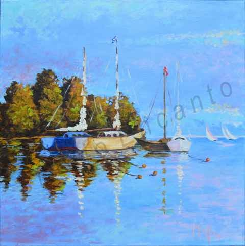 Image of Coastal Anchorage - Waiting to Sail by Mary Rose Holmes
