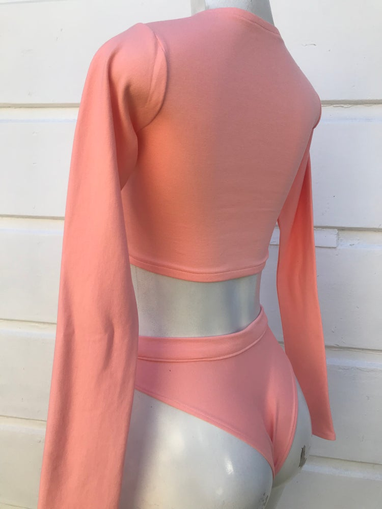 Image of SALMON PINK SEQUIN 2 PIECE SET, RAVE CLOTHING, FESTIVAL