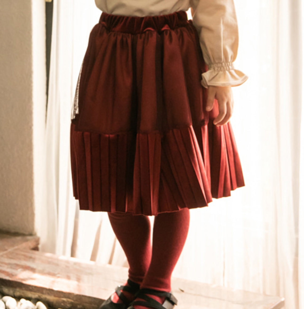 Image of Velvet Pleated Skirt