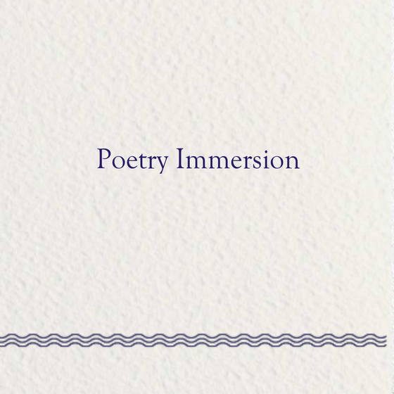 Image of Poetry Immersion: Fall 2019