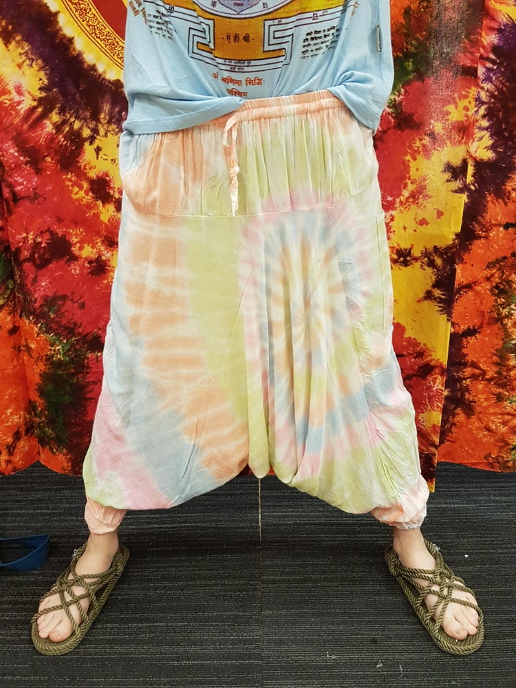 Image of Tie-Dye Harem Pants (High Crotch and Deep Crotch) Bright Colours