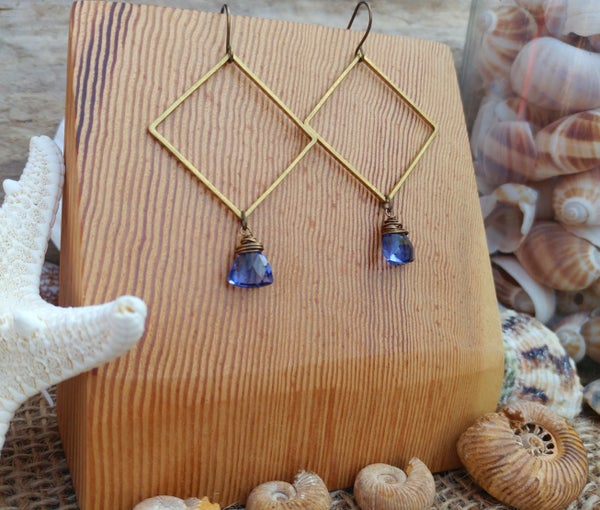 Image of Tanzanite Color Hydro Quartz Earrings
