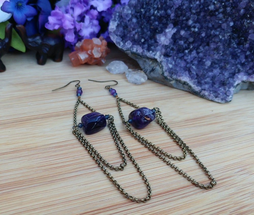 Image of Long Boho Amethyst Earrings