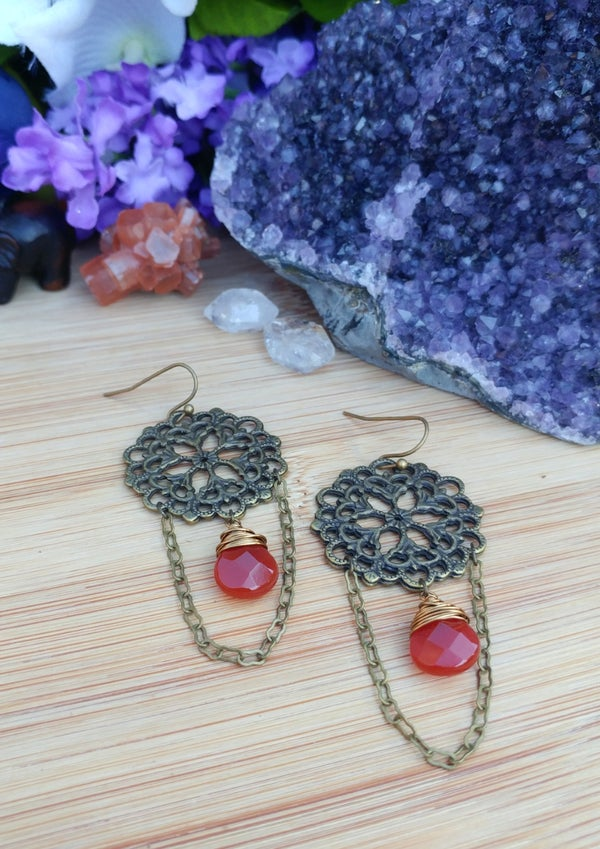 Image of Long Carnelian Earrings