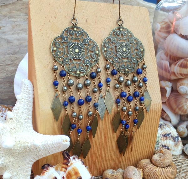 Image of Boho Pyrite + Lapis Lazuli Earrings