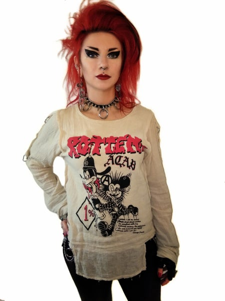 Image of ROTTEN UK A.C.A.B. gauze bondage shirt