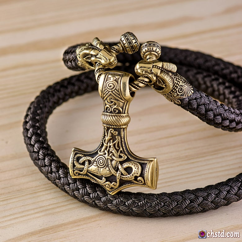 Image of Thor's Hammer : MJOLNIR + Aries Heads Paracord Necklace