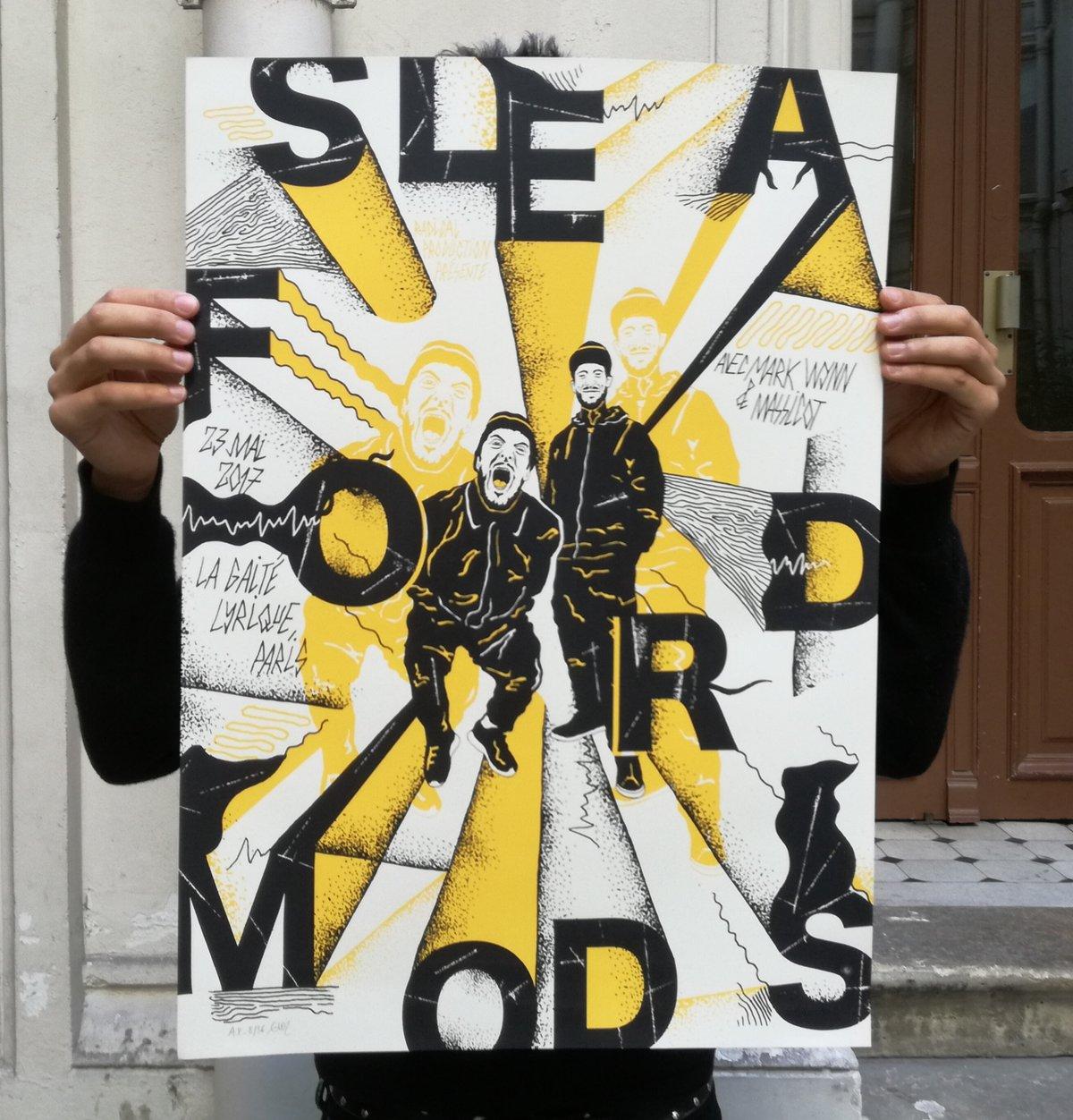 SLEAFORD MODS (Paris 2017) screenprinted poster