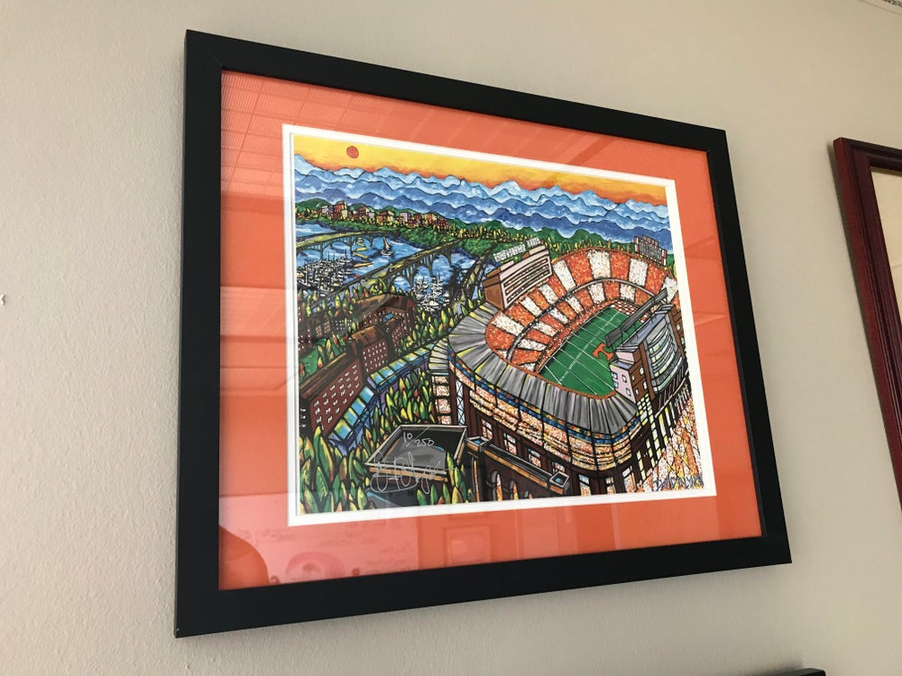 Image of Framed & Matted David Lynch Neyland Stadium Painting