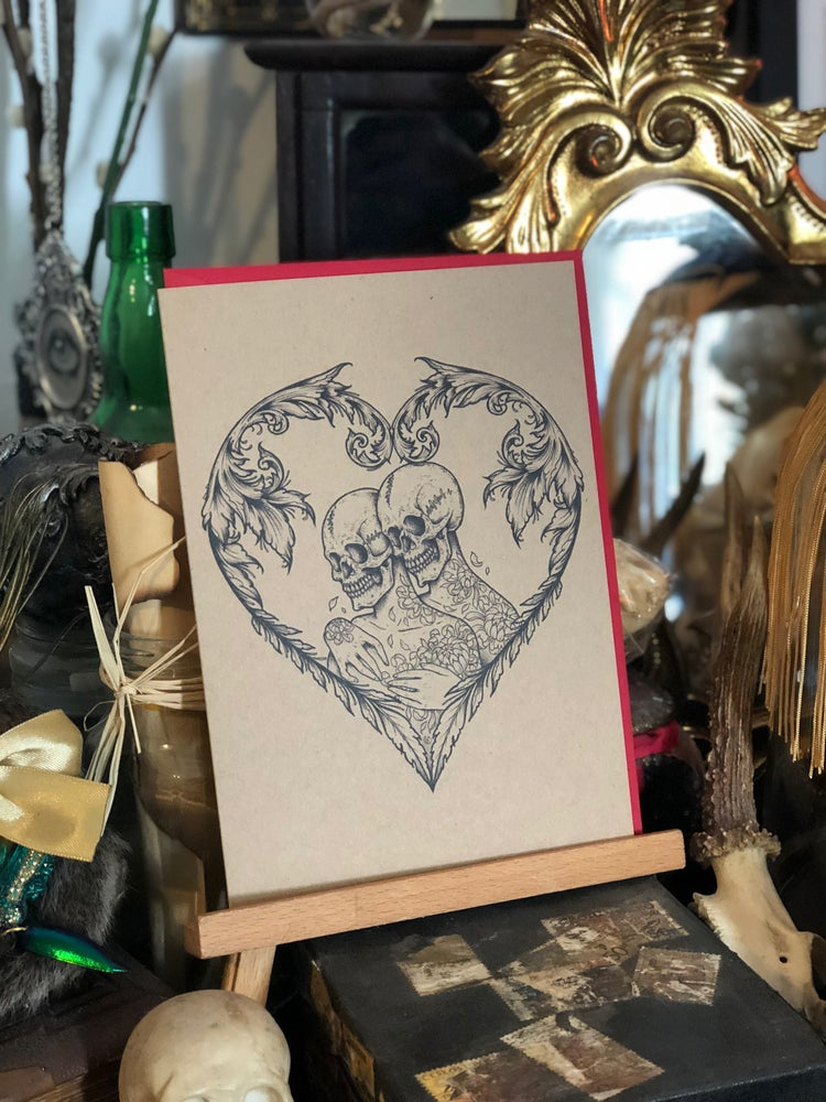 Image of 'Love you to the bones' A5 greetings card