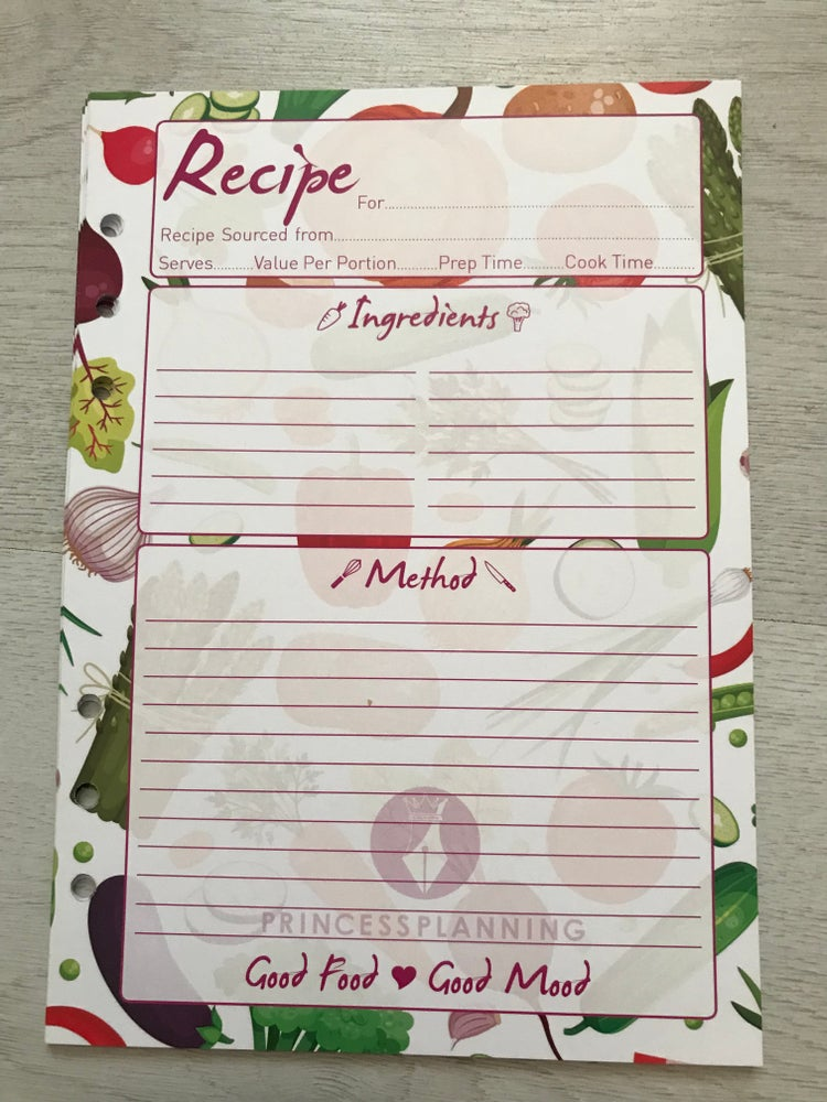 Image of 25 SHEETS RECIPE ORGANISER INSERTS A5