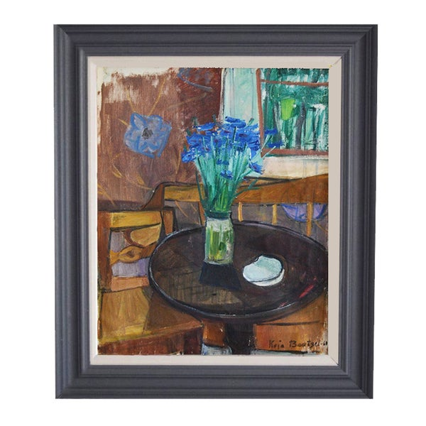 Image of 1960 Oil Painting, 'Cornflowers.'