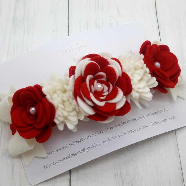 Image of Lux Red & White Flower Crown Headband
