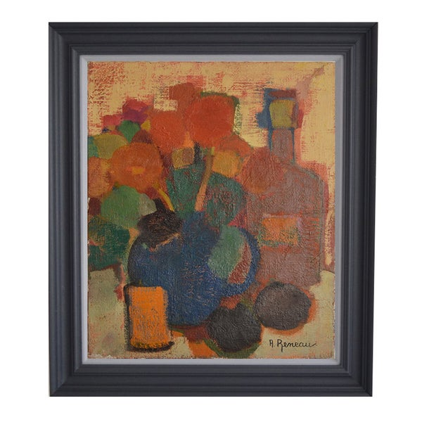 Image of Mid-century Still Life with Red flowers, Anne Reneau Golly (1922-2008)