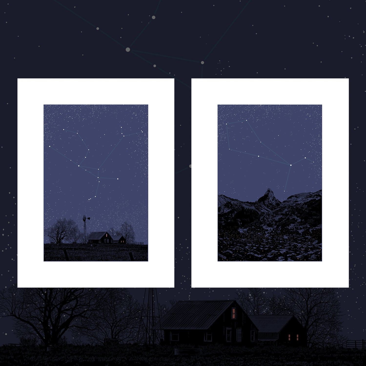 "Image of ""Night on Earth"" - 5 & 6 - Andromeda & Boötes - 2 print set"