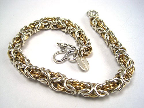 Image of Chainmaille Sterling Silver and Gold Filled Bracelet in Byzentine Weave