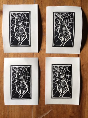 Image of SEPTEMBER'S SUMAC SPIDERS [block print]