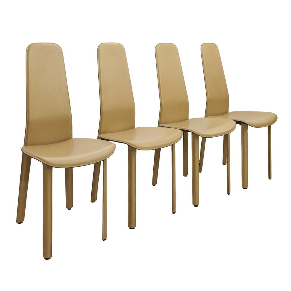Image of 4 Sillas de cuero Beige