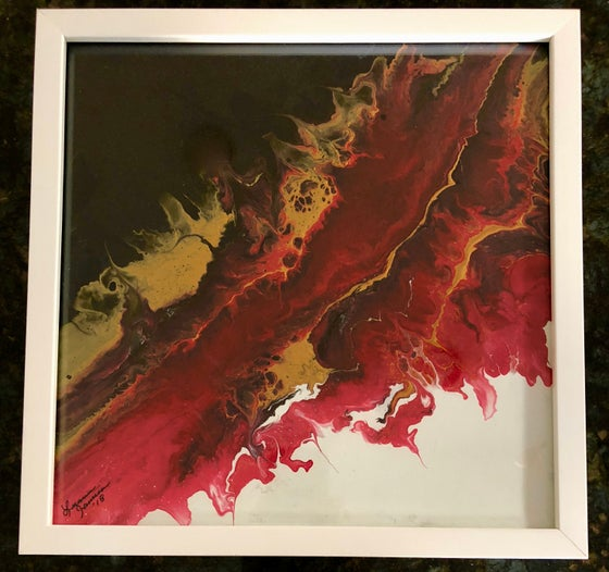 Image of Acrylic Pour Paint Painting in Black/White/Gold/Red--Framed