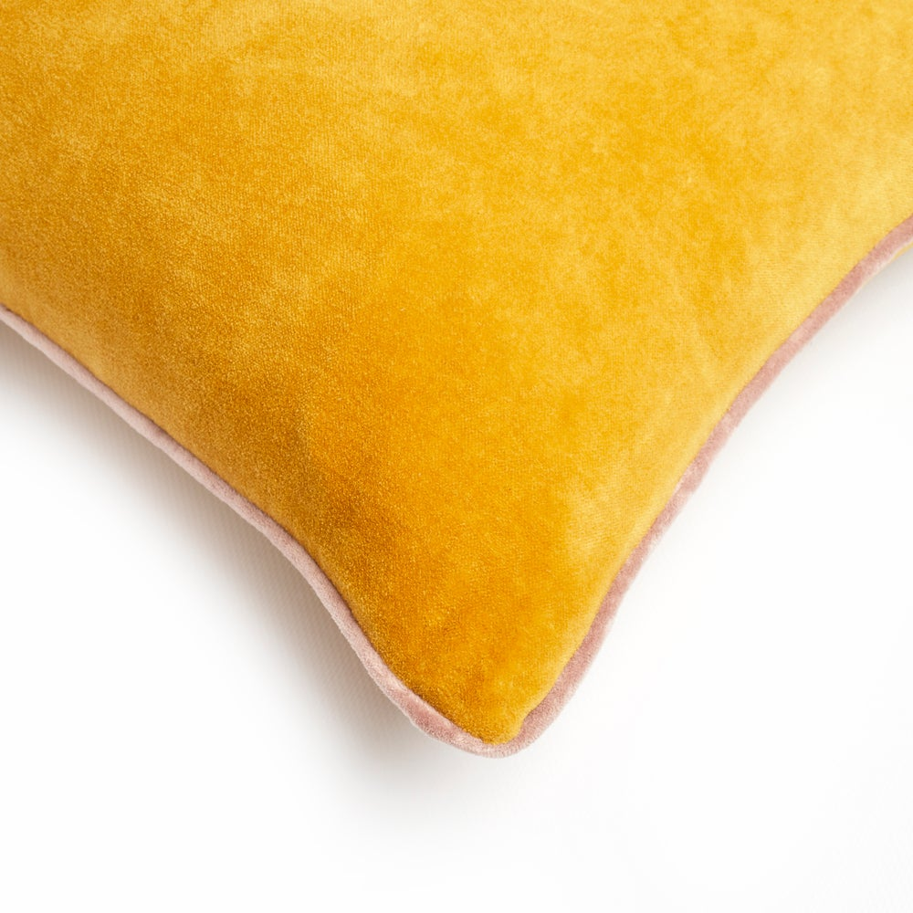 Image of S a m e t t i velvet cushion, mustard