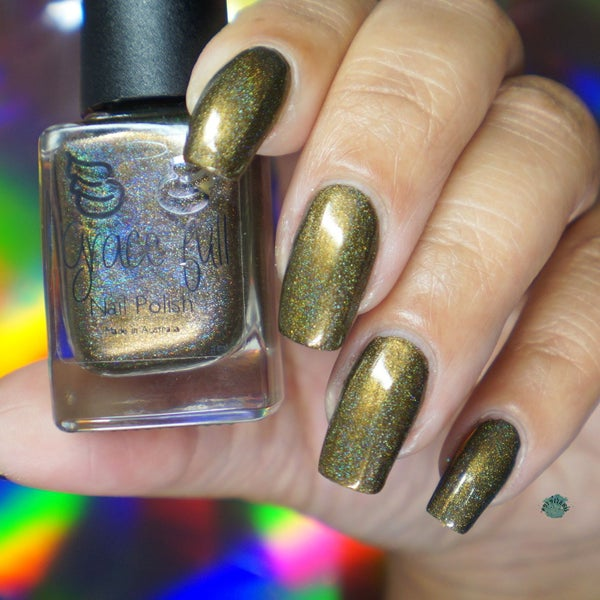 Image of Blessed are the Meek - a brown/khaki/army green linear holo with a gold base