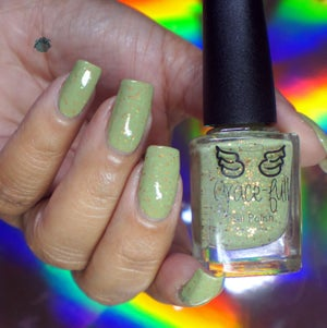 Image of Praise Be - a soft green crelly with gold and silver holo microglitter